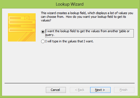 Microsoft Access lookup wizard (2010 Version).