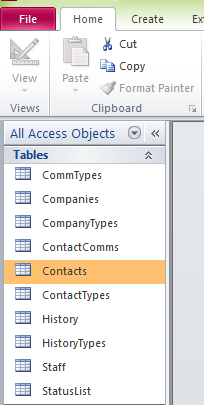 The Access Objects pane window (2010 Version).