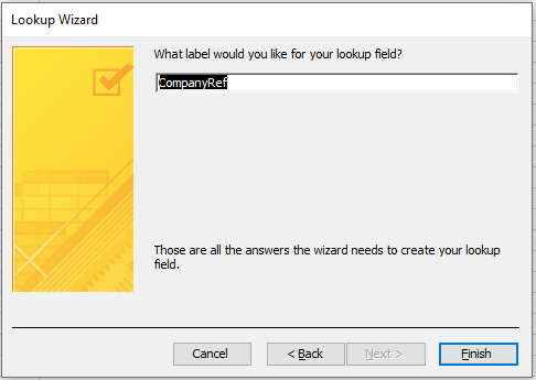 Microsoft Access: Final settings for the relationship.