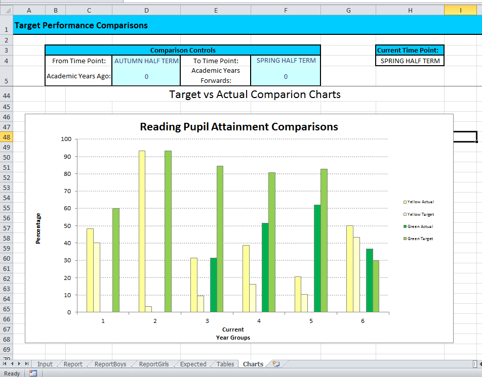 Custom reporting for a primary school created in Excel.