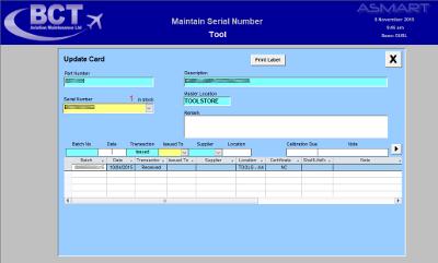 BCT Aviation Parts Screen, Engineering