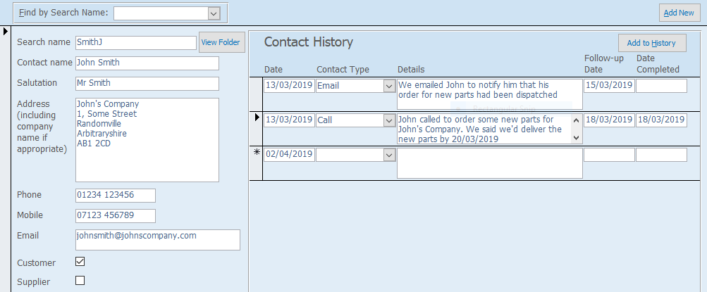 Microsoft Access CRM Database Contact History