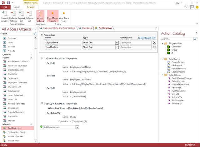 Access 2013 apps window