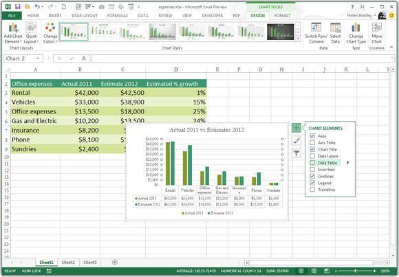 Microsoft Excel 2013 spreadsheet