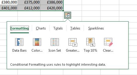 Microsoft Excel 2016 Quick Analysis