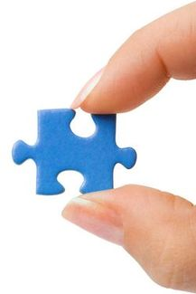 Holding puzzle piece - right side